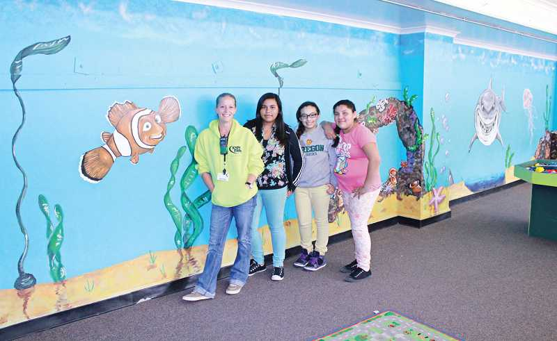 Kids Club painters included Kristyn Granger, left, Jennifer Galvan, Karina Hernandez, and Shantel Andrade.