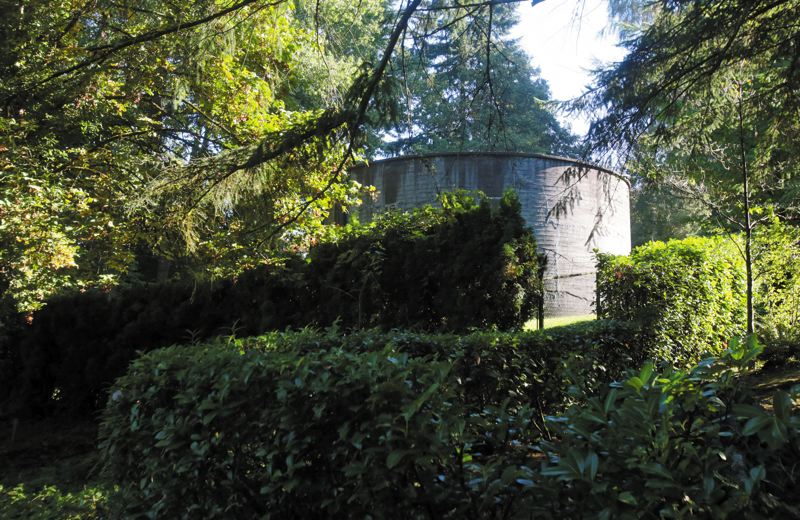 by: PAMPLIN MEDIA GROUP PHOTO: JONATHAN HOUSE - This Portland-owned water tank sits on property along Southwest 42nd Avenue that neighbors dont want sold to a developer.