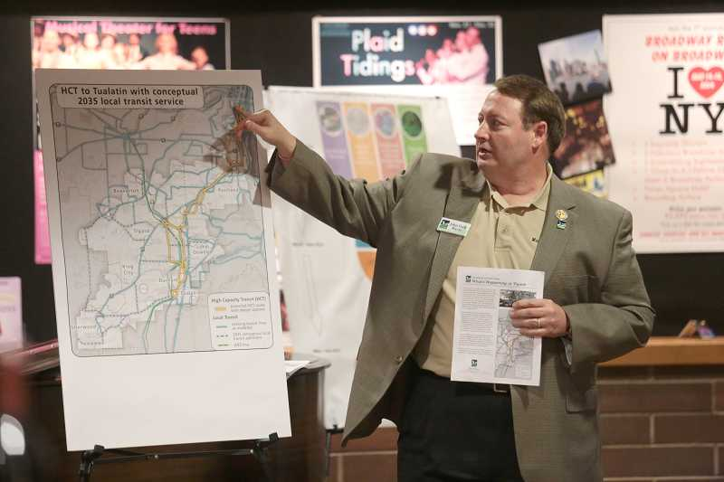 by: JAIME VALDEZ - Tigard Mayor John L. Cook explain plans for a proposed high capacity transit line through Portland, Tigard and Tualatin at a town hall Sept. 31. The City Council approved a plan to continue studying the project at its Tuesday meeting.