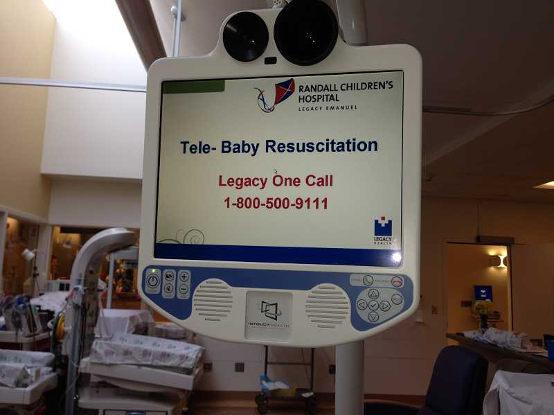 by: SUBMITTED PHOTO - A video feed through this screen and camera combination allows staff at Legacy Meridian Park Medical Centers Family Birth Center to see and speak with neonatal specialists at Randall Childrens Hospital at Legacy Emanuel.