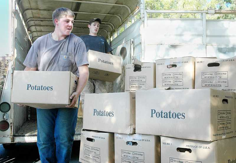 by: GARY ALLEN - Bounty - In 2012, FFA members delivered hundreds of pounds of potatoes to Newberg  F.I.S.H.