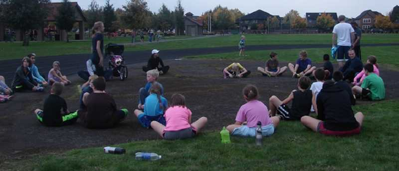 by: SUBMITTED PHOTO - Canby's youth running club met up last Thursday as part of its October schedule. More than 20 kids, ages 8 to14, have been attending the new club's practices.