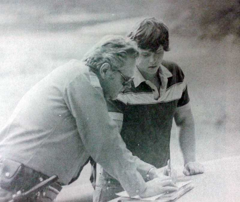 by: ESTACADA NEWS ARCHIVES - 1983: Estacada High School Senior Jeff Goudge tells a Clackamas County Sheriff's deputy how he an his friend Scott McElheran decided to scale a cliff in the Clackamas River canyon. McElheran got stuck 300 feet up the cliff face, Goudge climbed down and went for help. Both boys made it through the incident safely.
