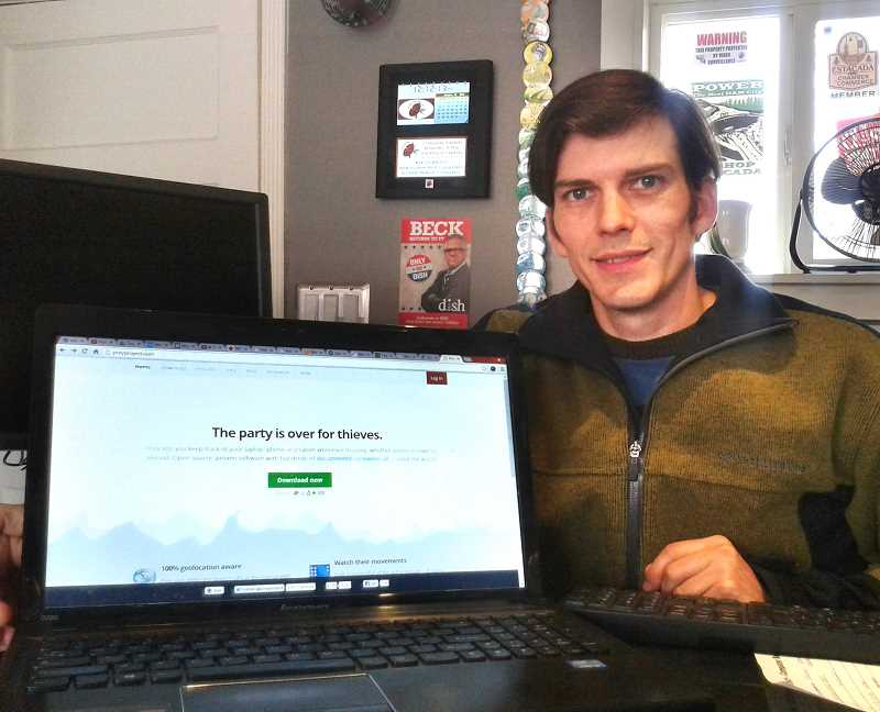 by:  ISABEL GAUTSCHI - Jordan Winthrop shows the preyproject website. Winthrop used Prey tracking software to help police recover his stolen laptop.