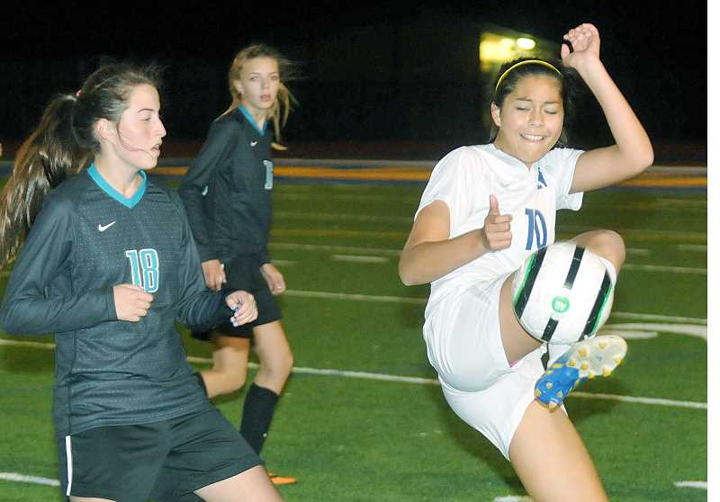 by: SETH GORDON - Isabella Vargas controls the ball in the Tigers 2-0 victory over Century Monday