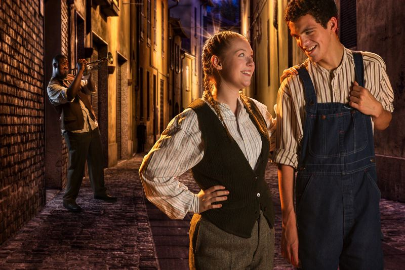 by: COURTESY OF OWEN CAREY - Thom Hilton (right) and Ashlee Waldbauer star as friends who go back in time to encourage Louis Armstrong (played by Javon Carter) to stick with music in Magic Tree House: A Night in New Orleans.