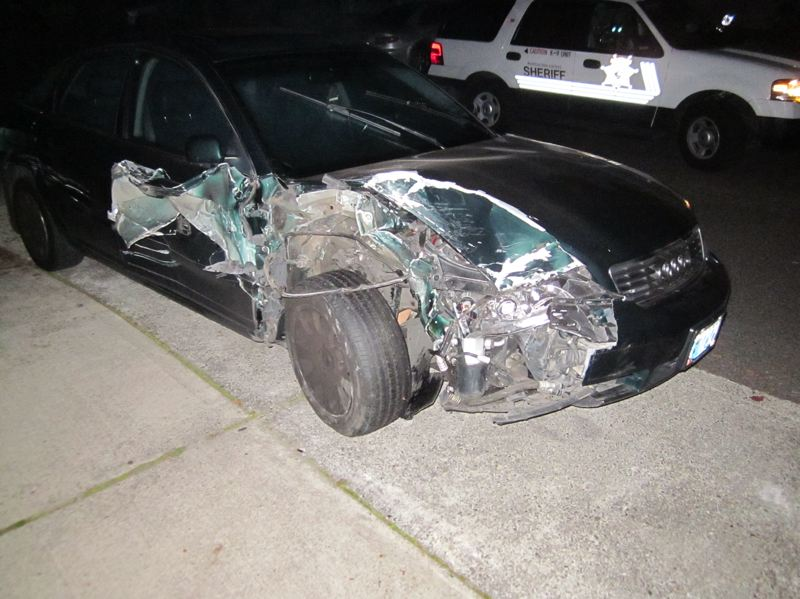 by: WASHINGTON COUNTY SHERIFF'S OFFICE - A Lexus was was pushed about 25 feet from the point of impact in an apparent hit-and-run on early Saturday morning in which two vehicles were struck and damaged. No one was injured in the incidents.
