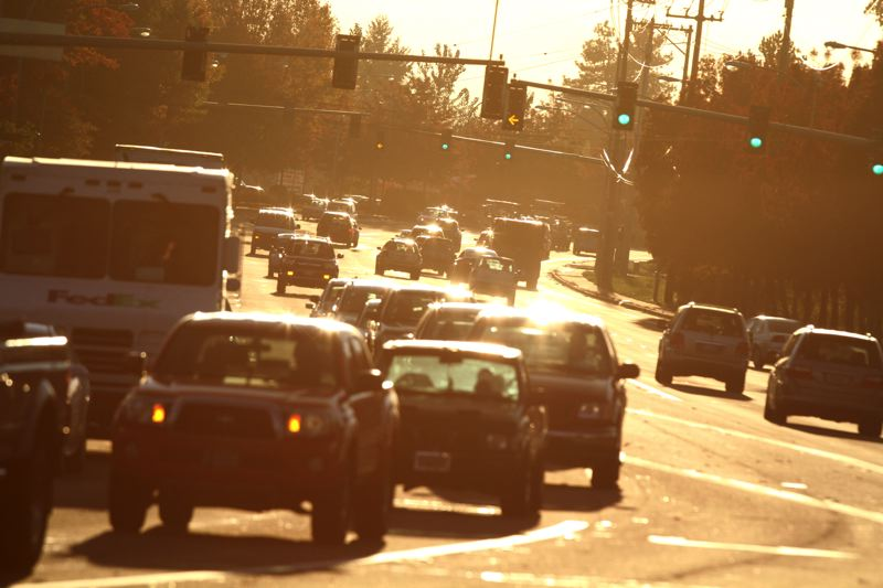 by: TRIBUNE PHOTO: JONATHAN HOUSE - Traffic builds up at rush hours along the busy Tualatin-Sherwood Road. TriMet is working to improve transit connections in that part of Washnigton County.