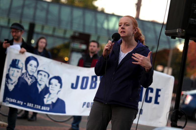 by: TRIBUNE PHOTO: JONATHAN HOUSE - Susan Barrett, co-founder of the group Oregon Save Our Schools, speaks at a rally last Thursday to protest corporatization of public schools.