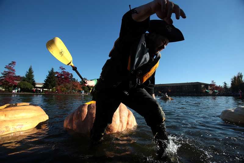 by: TIMES PHOTO: JONATHAN HOUSE - Local pirate Rich Mackin exits a pumpkin after a race during the West Coast Giant Pumpkin Regatta on Saturday.