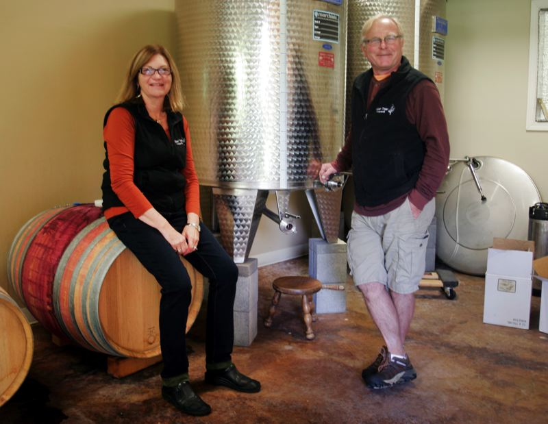 by: OUTLOOK PHOTO: JIM CLARK - The entire winemaking process takes place on the Lorentsons five-acre property in Sandy.