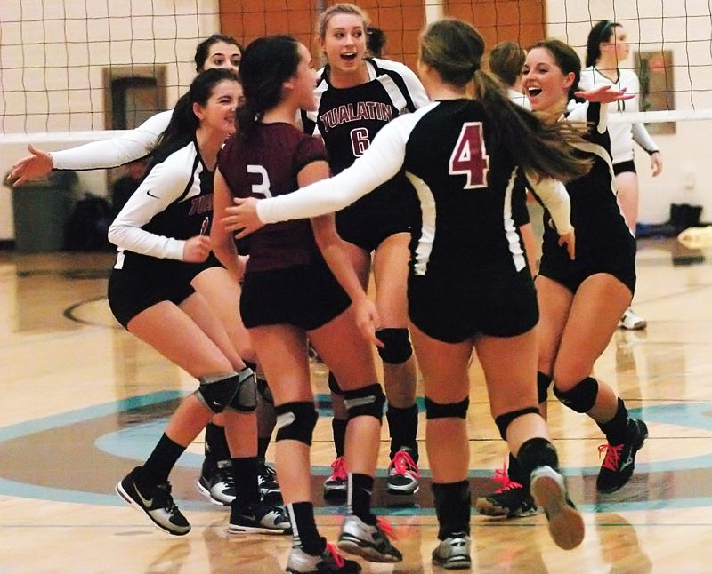 by: DAN BROOD - TEAMWORK --Tualatin's (from left) Haley Howarth, Sara Fanger, Beth Fanter, Katie Savage, Tegan Bracha and Morgan McMasters celebrate after scoring a point in last week's match at Century.