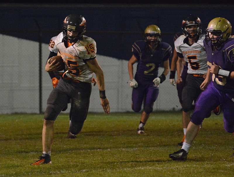 by: JOHN WILLIAM HOWARD - Jonathan Tardiff (15) saw a solid chunk of time at linebacker on Friday, with several key members of the defense sidelined for the night. Tardiff was able to pick off Astoria quarterback Dyllan Sollars late in the fourth quarter.