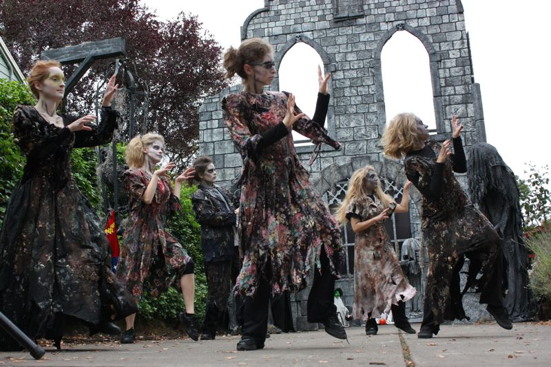 by: PHOTO COURTESY: JEFF DAVIS - Milwaukie High School's dance team, the Pony Prancers, shambles to the beat of Michael Jackson's 'Thriller' at the Davis Graveyard again this year.