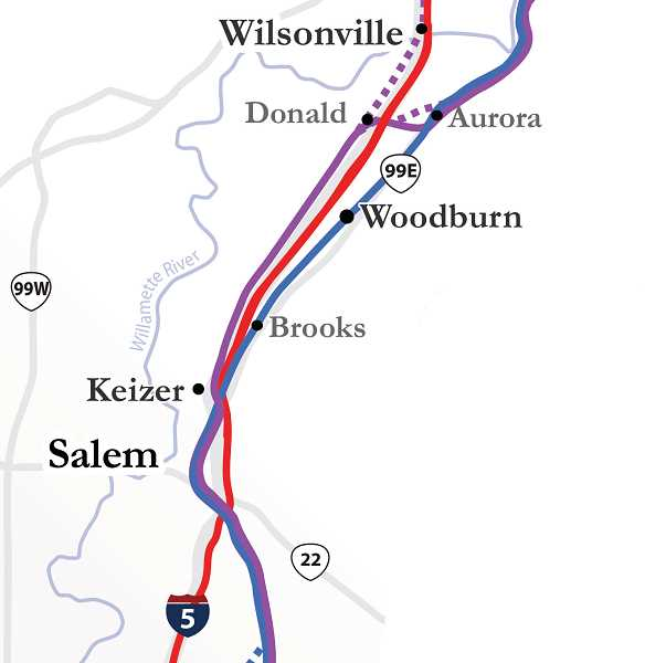 by: ODOT - Each of the three lines - blue, red and purple - could potentially have a stop in Woodburn. The blue line would use the existing Amtrak route through downtown Woodburn.