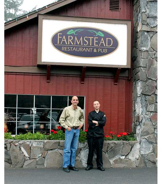 by: CORY MIMMS - J.D. Clarizio and Kyle Griffith outside Farmstead Restaurant and Pub.