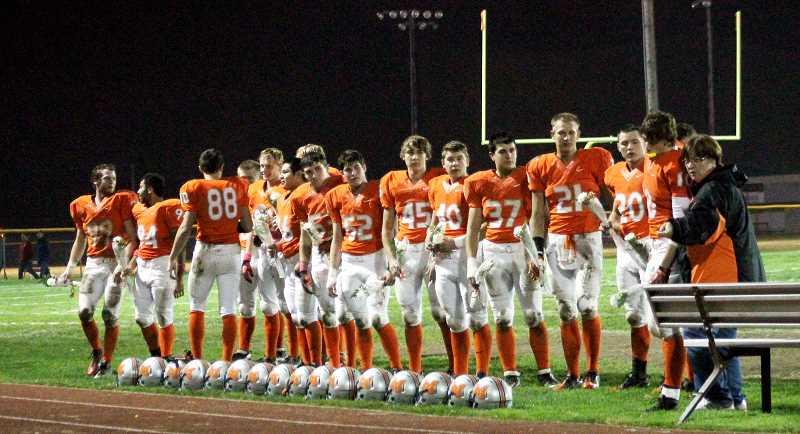 by: CORY MIMMS - The seniors on Molalla's football team were honored during halftime on Friday night.