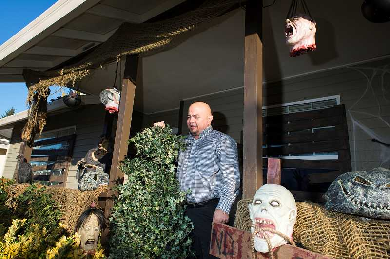 by: NEWS-TIMES PHOTO: CHASE ALLGOOD - Victor Lanna decorates his Rodlun Court home for Halloween, each year adding new spooky items to the collection.