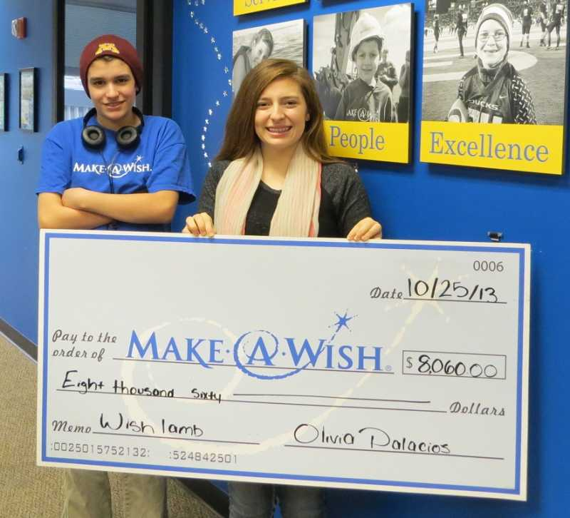 by: SUBMITTED PHOTO - Lori Palacios and her brother, Josh, at Make-A-Wish Oregon to donate her funds.