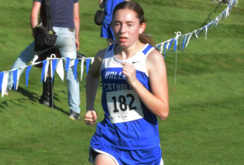by: TIMES PHOTO: MATT SINGLEDECKER - Valley Catholic sophomore Maricela Jaroch took second at the Special District One Championship Meet on Thursday to help the Valiants take first overall.