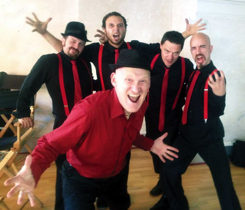 by: COURTESY OF CHERVONA - Chervonas Slavic-meets-Western party music is fueled by the highly entertaining leader Andrei Temkin (left, front), a native of St. Petersburg, Russia. Says Temkin: I have played every gig.