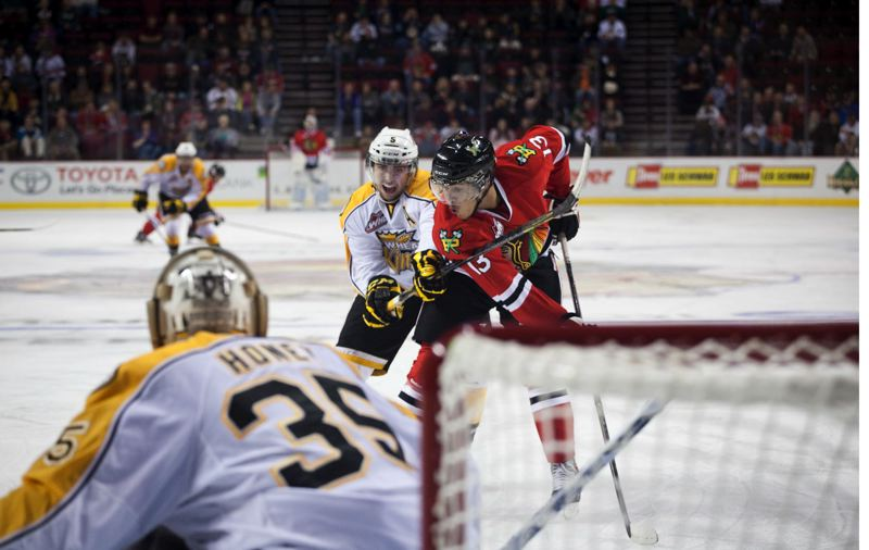 by: TRIBUNE PHOTO: ADAM WICKHAM - Forward Keegan Iverson scored on a rebound in the second period Wednesday night, giving the Portland Winterhawks a 4-0 lead over the Brandon Wheat Kings.