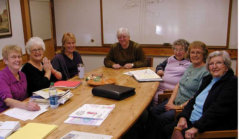 by: RON HALVORSON - Local Scribblers (left to right) Glenda Janssen, Nancy Dachtler, June Selis, Mary Reed, Nita Regnier, Carol Wayne, and Barbara Minturn meet together.
