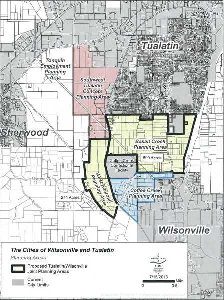 by: SUBMITTED IMAGE - The cities of Wilsonville and Tualatin are working on a concept plan that will plan for and divide up both the Basalt Creek and West Railroad areas.