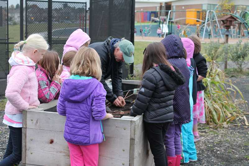 by: KATE HOOTS - Bob Carlson, CREST director, shows a group of second-graders how to plant garlic at Lowrie Primary School Oct. 31.