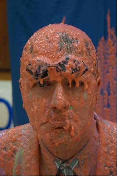 by: SUBMITTED PHOTO - Ninety-One Principal Skyler Rodolph in the aftermath of the sliming he took thanks to the school surpassing its goal.