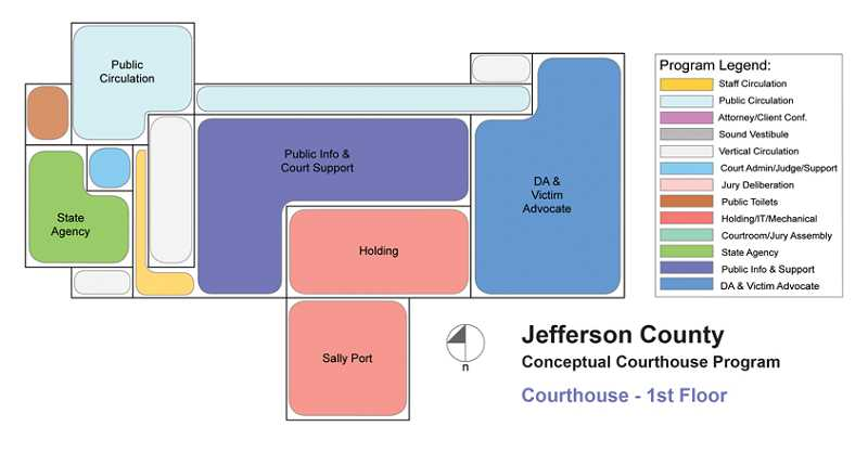 by: SUBMITTED ILLUSTRATION - In a concept layout, the ground floor of the proposed Jefferson County Courthouse would include the district attorney's office, public information and court support, as well as a sally port and holding area for prisoners. The upper floors would provide space for courtrooms, judges and juries.