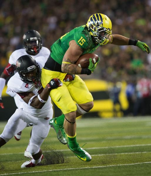 by: TRIBUNE FILE PHOTO: CHRISTOPHER ONSTOTT - Colt Lyerla had moments of stardom with the Oregon Ducks before leaving the football program in early October.