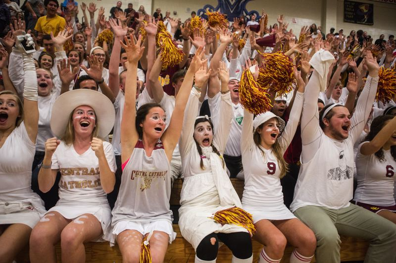 by: COURTESY OF DAVID BLAIR - Central Catholic fans cheer on their volleyball team at the state tournament finals.