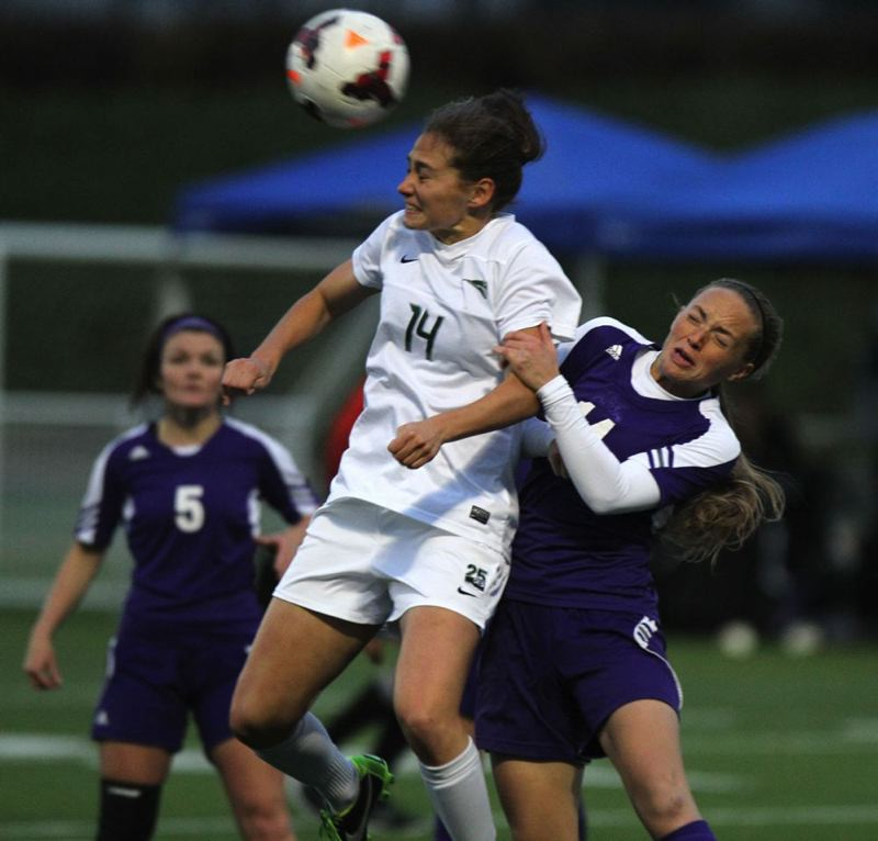 Ariana Cooley of Portland State gets off a header in the Big Sky tournament final at Hillsboro Stadium.