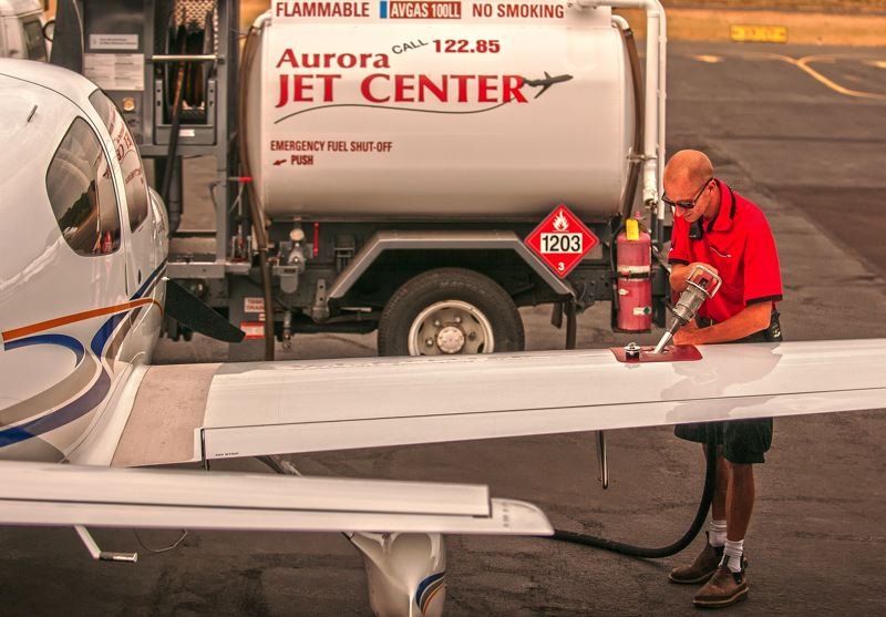 by: SPOKESMAN PHOTO: JOSH KULLA - Jets at the Aurora State Airport are a double-edged sword for local residents, some of whom use them to commute in and out of town. New traffic patterns now will bring jets into the airport from the east instead of the north.