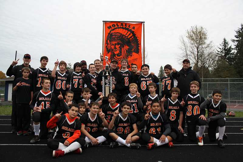 by: COURTESY OF BETH FAULHABER - Molalla Youth Football's seventh grade team.