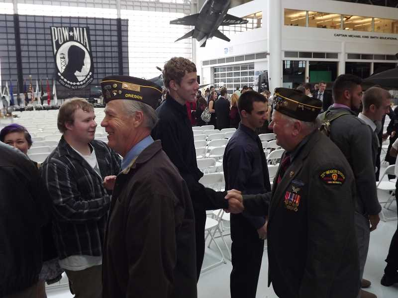 by: BRAD SIMMONS - Gervais High School students took part in Living History Day for the fourth year in a row, this time celebrating at Evergreen Aviation and Space Museum. Students cheered and shook hands with dozens of veterans as they walked by at the end of a ceremony honoring their service