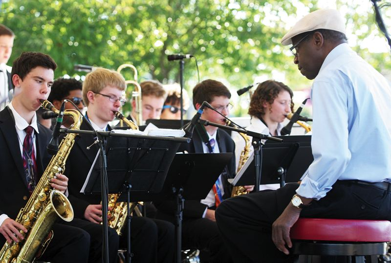 by: PHOTO: JIM CLARK/PAMPLIN MEDIA GROUP - Students in the American Music Program, led by Thara Memory, perform at the Mt. Hood Jazz Festival in Gresham in August.