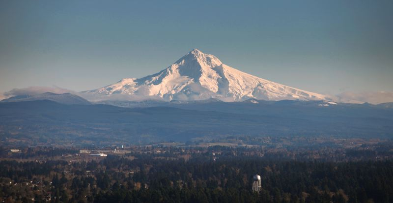 by: PAMPLIN MEDIA GROUP: JONATHAN HOUSE - Mount Hood towers over the Willamette Valley.