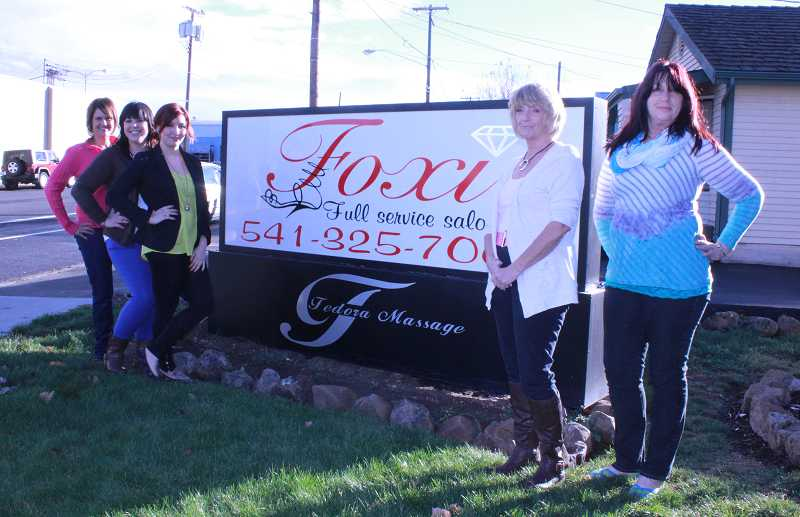 The Foxi Salon staff includes owner Christine Murders, left, Tina Nunn, Jadyra Borja, Maxine Hulsey adn Penne Phifer.