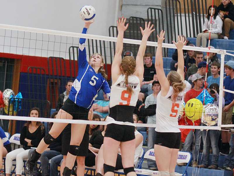 by: PIONEER FILE PHOTO - Madras junior outside hitter Shelby Mauritson was named the Tri-Valley Conference volleyball player of the year this season.