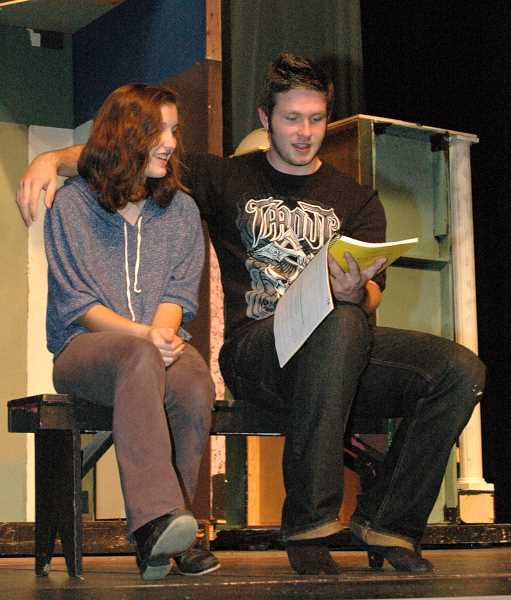 by: ISABEL GAUTSCHI - Freshman Madison Newsome and senior Justin Rich rehearse a scene.