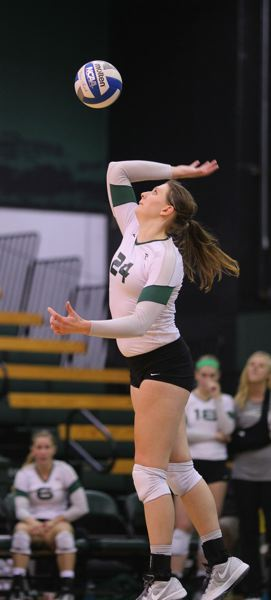 by: SCOTT LARSON/PORTLAND STATE UNIVERSITY - Leigh-Ann Haataja of Portland State got the winning stuff block in Thursday night's match against North Dakota.