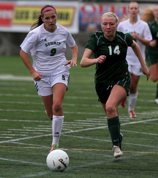 Jamie Kresl (right) of Wilson gets to the ball first in a footrace with Christine Edwards of Summit.