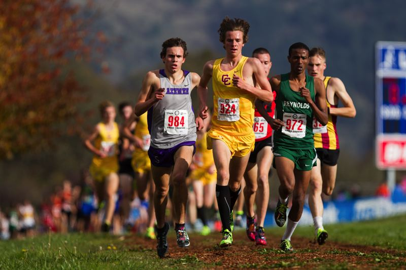 by: COURTESY OF DAVID BLAIR - Kyle Thompson of Central Catholic leads the field at the Class 6A championships in Eugene.