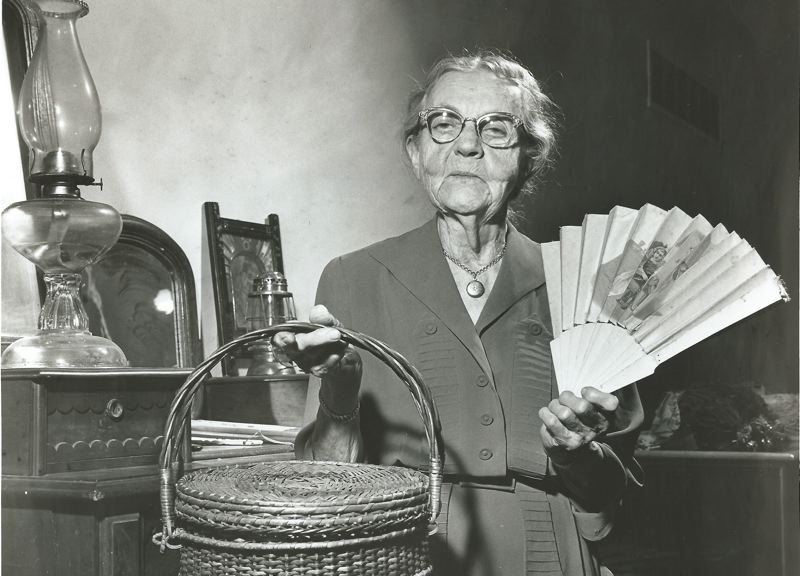 by: PHOTO COURTESY: CCHS/ALAN DELAY - Mertie Stevens is pictured as an adult in 1959. Born in Oregon City in 1872, she lived to be just a few years shy of 100 and left her estate to educational purposes.