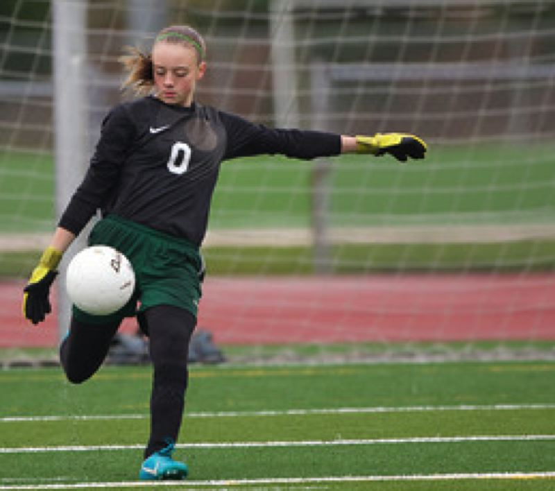 OES goalkeeper Rachel Haugh winds up.