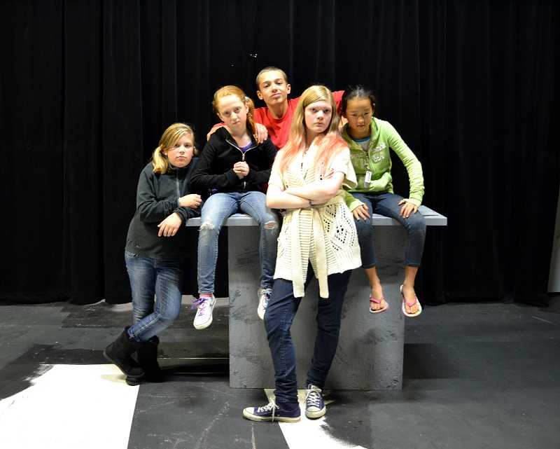 by: COURTESY PHOTO - The worst kids in the world are played by Sarah Felder, (back row from left) Rachael Schoen, Grace Malloy, Christian Vece, and Yoonie Shin in The Best Christmas Pageant Ever.