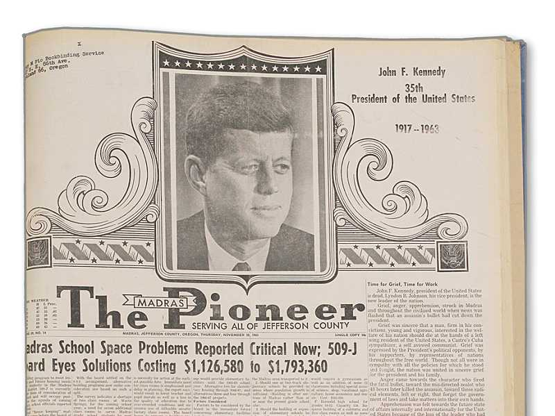 by: MADRAS PIONEER - The Madras Pioneer newspaper from Nov. 28, 1963, memorializes President John F. Kennedy, less than a week after his assassination.