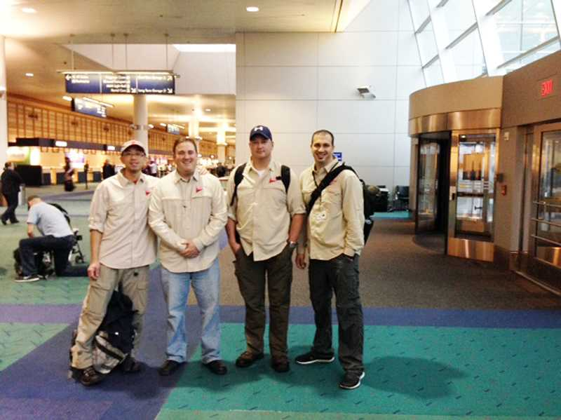 by: SUBMITTED PHOTO - The first team of Medical Teams International volunteers, led by TVF&R Battallion Chief Ian Yokum, second from left, departed Portland on Nov. 13. More teams will be sent throughout the week and will be providing medical services and aid through the end of December.